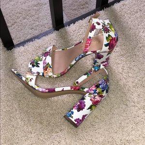 Steve Madden Floral Chunk Heels